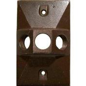 "Morris Products 37334, One Gang Weatherproof Covers - Retangular Lampholder Three Hole 1/2"" Bronze"
