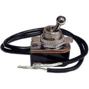"Morris Products 70061, Med D. Short Ball Bat Toggle Switch SPST On-Off 6"" Leads w/ On-Off Plate"