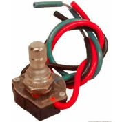 """Morris Products 70230, Rotary Switch SPST Brass Button with 6"""" Leads Off-On(A)-On(B)-On(A&B)"""