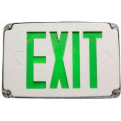 Morris Products 73388, Compact Cold Weather & Wet Loc. Green LED, Exit Sign Battery Backup, White