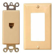 Morris Products 80160, 2 Piece Decorative Single RJ11 4 Conductor Phone Jack Wallplate Ivory