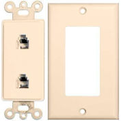Morris Products 80173, 2 Piece Decorative Dual RJ11 4 Conductor Phone Jack Wallplate  Lt. Almond