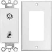 Morris Products 80181, 2 Piece Decor 1 RJ11 4 Conductor Ph1 Jack & 1 F Conn. Wallplate White