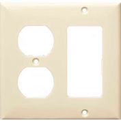 Morris Products 81253, Lexan Wall Plates 2 Gang 1 Decorative 1 Duplex Almond