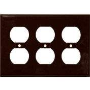 Morris Products 81432, Lexan Wall Plates 3 Gang Duplex Receptacle Brown