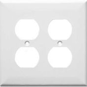 Morris Products 81761, Lexan Wall Plates 2 Gang Midsize Duplex Receptacle White