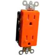 Morris Products 82479, Decorative Tamper Resistant Isolated Ground Duplex Receptacle 15A-125V Orange