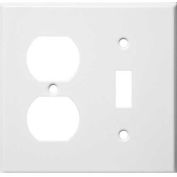 Morris Products 83422, Painted Steel Wall Plates 2 Gang 1 Duplex 1 Toggle White