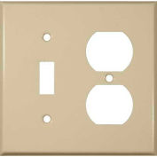 Morris Products 83423, Painted Steel Wall Plates 2 Gang 1 Duplex 1 Toggle Ivory