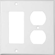 Morris Products 83442, Painted Steel Wall Plates 2 Gang 1 Decorative 1 Duplex White