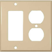 Morris Products 83443, Painted Steel Wall Plates 2 Gang 1 Decorative 1 Duplex Ivory