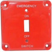 "Morris Products 83502, Emergency Metal Switch Plates 4"" Raised Emergency"
