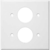 "Morris Products 83512, Painted Steel Wall Plates 2 Gang 2 Single Receptacles 1.406"" Hole Dia. White"