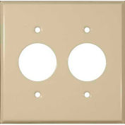 "Morris Products 83513, Painted Steel Wall Plates 2 Gang 2 Single Receptacles 1.406"" Hole Dia. Ivory"