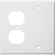 Morris Products 83542, Painted Steel Wall Plates 2 Gang 1 Duplex 1 Blank White