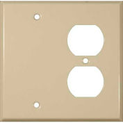 Morris Products 83543, Painted Steel Wall Plates 2 Gang 1 Duplex 1 Blank Ivory