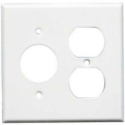 """Morris Products 83552,  Steel Wall Plates 2 Gang 1 Duplex 1 1 Receptacle 1.406"""" Hole Dia. White"""