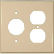"Morris Products 83553,  Steel Wall Plates 2 Gang 1 Duplex 1 1 Receptacle 1.406"" Hole Dia. Ivory"
