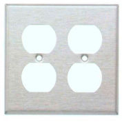 Morris Products 83832, 304 Stainless Steel Wall Plates 2  Gang Duplex  Receptacle