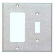Morris Products 83860, 304 Stainless Steel Wall Plates 2 Gang 1 Toggle 1 Decorative/GFCI