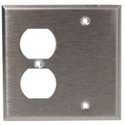 Morris Products 83862, 304 Stainless Steel Wall Plates 2 Gang 1 Duplex 1 Blank