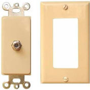 Morris Products 85115, 2 Piece Decorative Single F Connector Wallplate Ivory