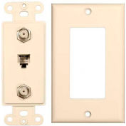 Morris Products 85233, 2 Piece Decor  Dual F Conn. & 1 RJ11 4 Conductor Ph1 Jack Wallplate  Almond