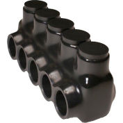 Morris Products 97555 Black Insulated Multi-Cable Connector - Single Entry 5 Ports 350 - 6