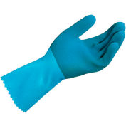 MAPA® Blue-Grip™ LL301 Natural Rubber Gloves, Heavy Weight, Blue, 1 Pair, Medium, 301427