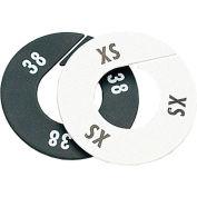 "3X Round Garment Rack Divider, 3-1/2"", White W/Black Print, 10/Pack"