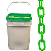 "Plastic Chain - 1-1/2"" Links - In A Pail - Safety Green - 300 Feet - Trade Size 6"