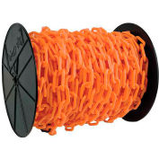"""Plastic Chain - 1-1/2"""" Links - On A Reel - Safety Orange - 200 Feet - Trade Size 6"""