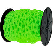 "Plastic Chain - 1-1/2"" Links - On A Reel - Safety Green - 200 Feet - Trade Size 6"