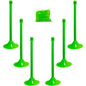 "Plastic Stanchion Kit - Safet Green - 6pk 50' of 2"" Chain W/ C-Hooks Incl. - 2"" Pole, 14"" Base, 41""H"