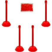 "Plastic Stanchion Kit - Red - 4pk 30"" of 2"" HD Chain W/ C-Hooks Incl. - 3"" Pole, 16"" Base, 41""H"