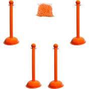 "Plastic Stanchion Kit - Orange - 4pk 30' of 2"" HD Chain W/ C-Hooks Incl. - 3"" Pole, 16"" Base, 41""H"