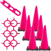 "Mr. Chain Traffic Cone and Chain Kit, 28"" Cone Height, HDPE/PVC, Safety Pink"