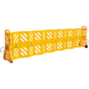 """Mobile Plastic Safety Barrier, Extended 138""""L, Yellow"""