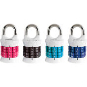 """Master Lock® No. 1535DWD Word Combination Padlock - 15/16"""" Shackle - Assorted Colors - Pkg Qty 4"""