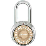 "Master Lock® 1572LFGLD 3-Letter-Combo Padlock 1-1/2"" Inside Shackle HT, Control Chart,Gd Dial"