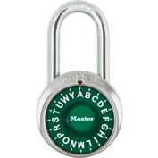 "Master Lock® Letter Lock 3-Letter-Combo Padlock 1-1/2"" Inside Shackle HT, Control Chart,Gn Dial"