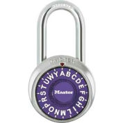 "Master Lock® 1572LFPRP 3-Letter-Combo Padlock 1-1/2"" Inside Shackle HT, Control Chart,Pl Dial"