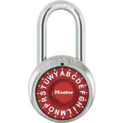 "Master Lock® Letter Lock 3-Letter-Combo Padlock 1-1/2"" Inside Shackle HT, Control Chart,Rd Dial"
