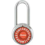 "Master Lock® Letter Lock 3-Letter-Combo Padlock 2"" Inside Shackle HT, Control Chart,Orange Dial"