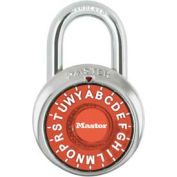 "Master Lock® Letter Lock 3-Letter-Combo Padlock 3/4"" Inside Shackle HT, Control Chart,Org Dial"