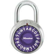 "Master Lock® Letter Lock 3-Letter-Combo Padlock 3/4"" Inside Shackle HT, Control Chart,Pl Dial"