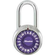 """Master Lock® Letter Lock 3-Letter-Combo Padlock 1-1/2"""" Inside Shackle HT,  Purple Dial"""