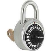"Master Lock® No. 1585 3-Letter-Combo Padlock 3/4"" Inside Shackle HT, Key Override,Black Dial"