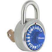 "Master Lock® No. 1585BLU 3-Letter-Combo Padlock 3/4"" Inside Shackle HT, Key Override,Blue Dial"