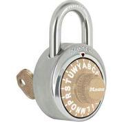 "Master Lock® No. 1585GLD 3-Letter-Combo Padlock 3/4"" Inside Shackle HT, Key Override,Gold Dial"